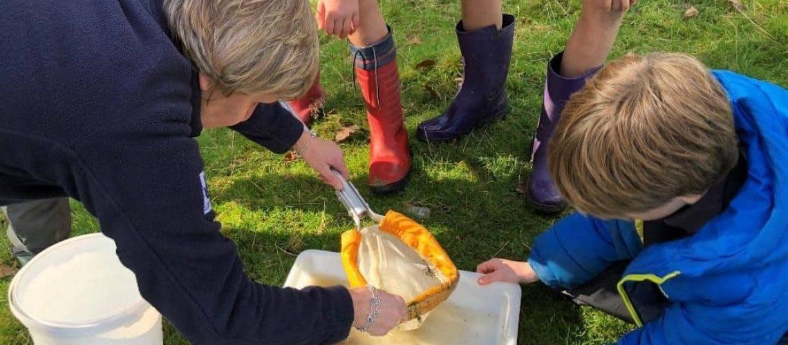 Elever undersöker bäcken